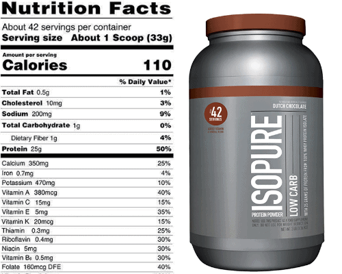 Isopure low carb whey protein powder nutrition