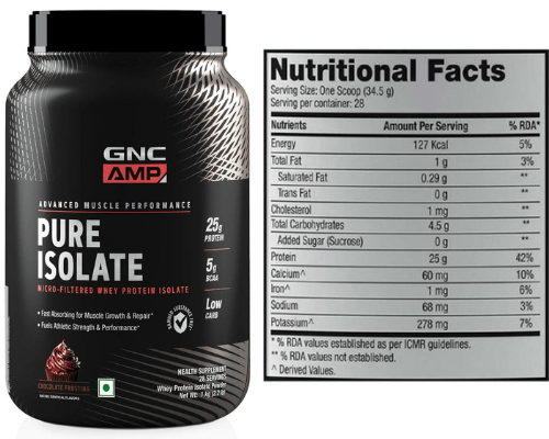 GNC Amp Pure Isolate Whey Protein Nutrition Facts