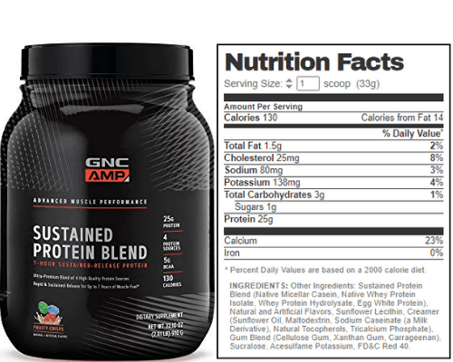 gnc amp sustained protein blend nutrition facts