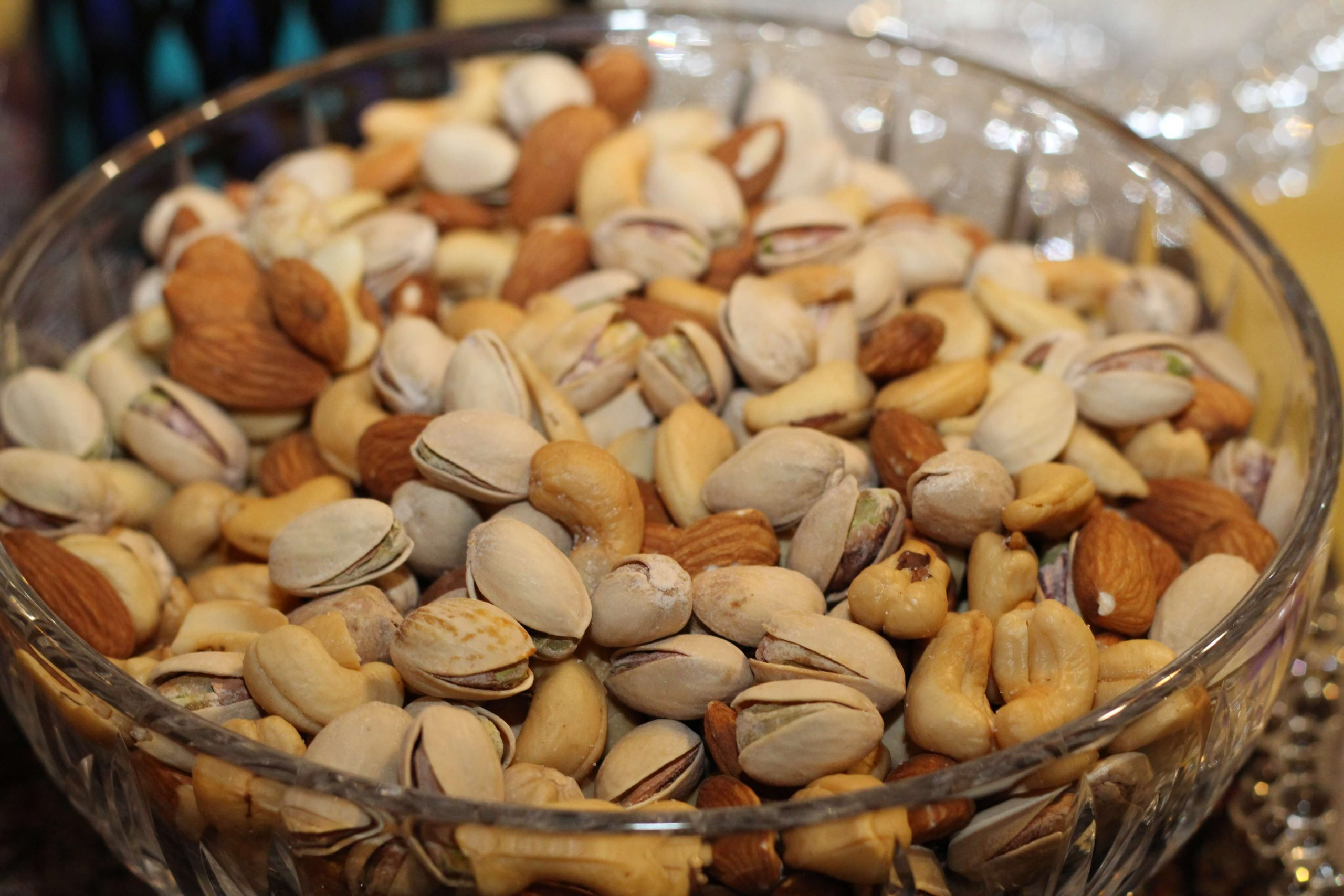 a bowl of high protein nuts